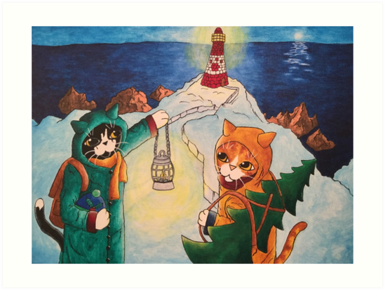 Christmas Lighthouse at Night Cats by Acrylic-Cats