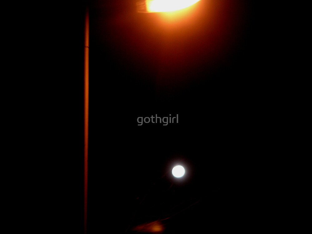 Moon and Street Light by gothgirl