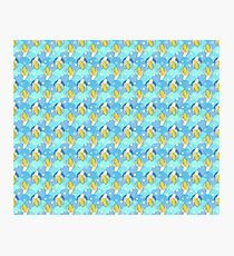 Banana Blue Scale Pattern Photographic Print