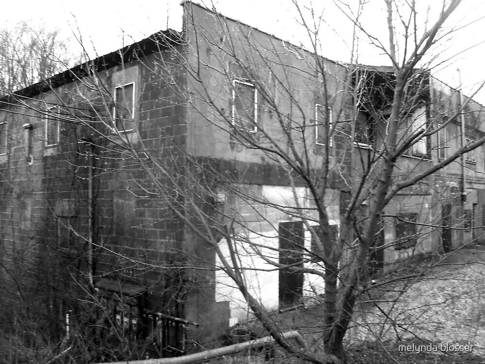 abandoned building B&W by melynda blosser