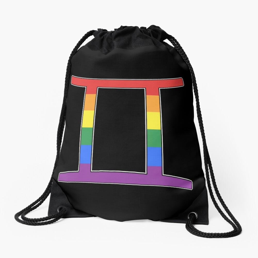 Rainbow Gemini Drawstring Bag Front