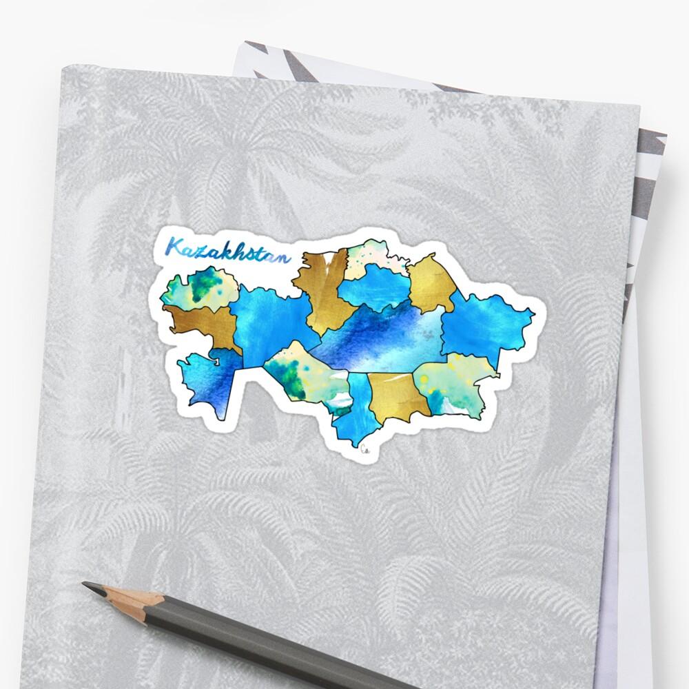 Watercolor Countries - Kazakhstan by Erin McIntosh