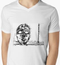 psychedelic geometric polygon pattern face portrait in black and white T-Shirt