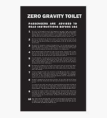 2001 A Space Odyssey Zero Gravity Toilet Instructions Photographic Print