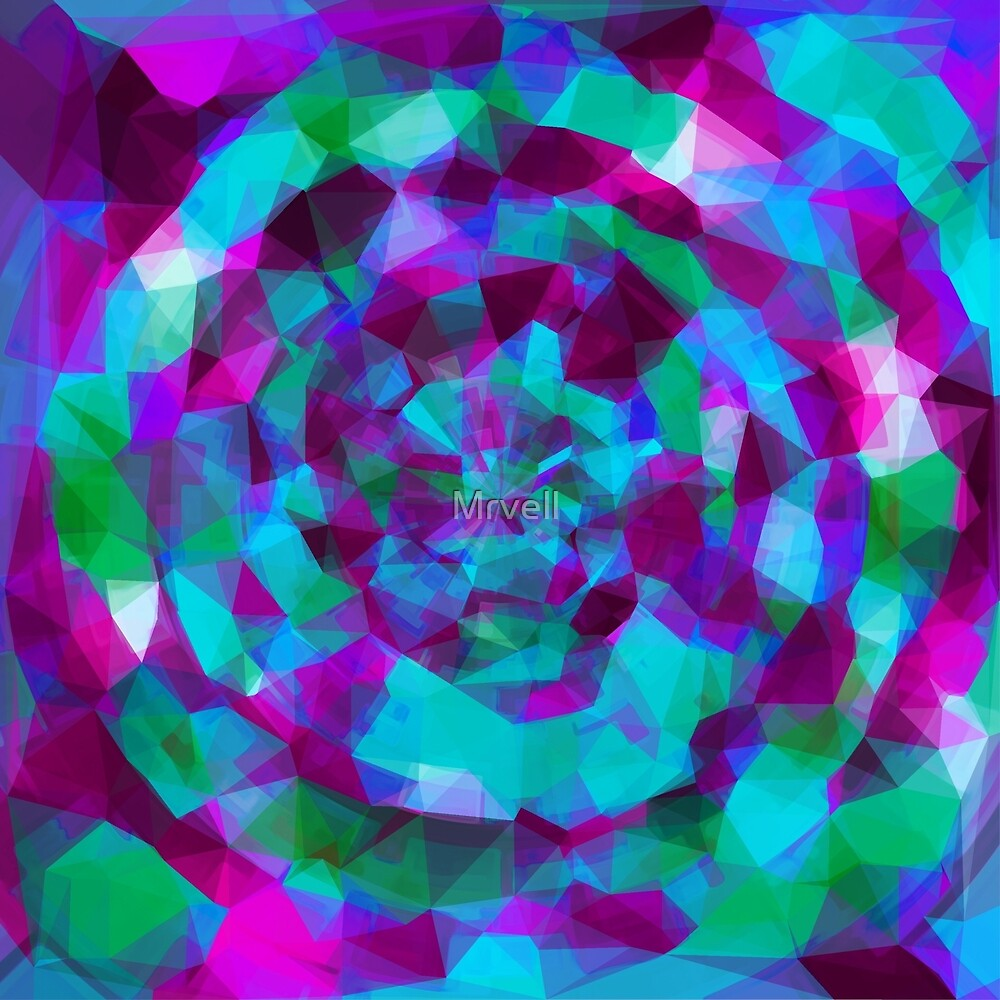 psychedelic geometric polygon pattern abstract in pink purple blue by Mrvell