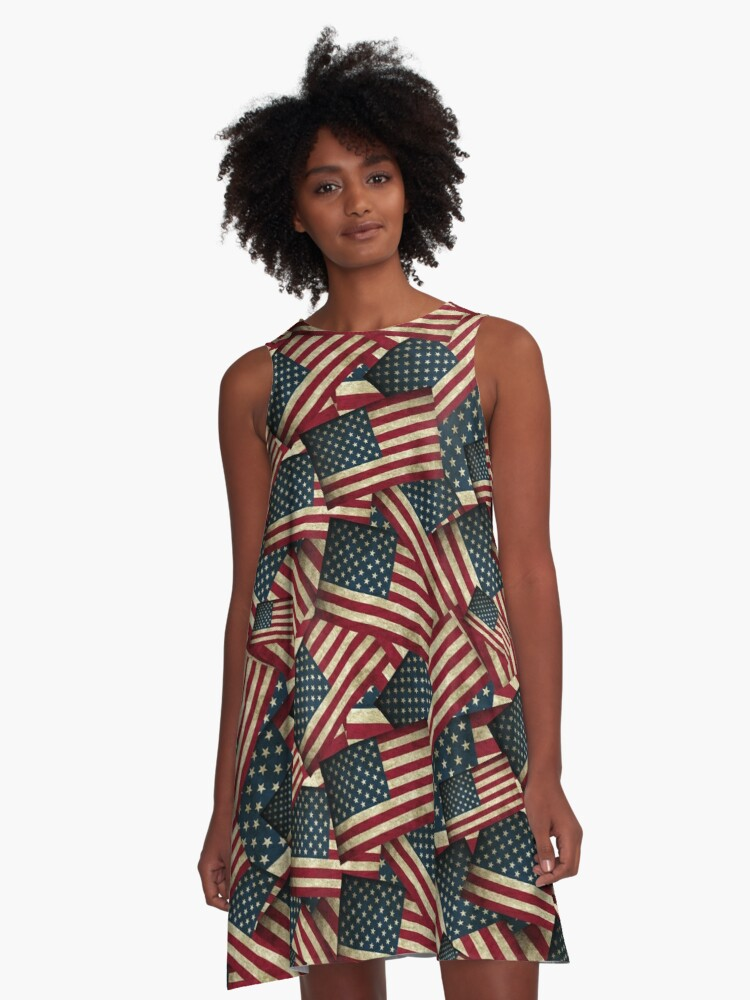 Patriotic Grunge-style American Flag A-Line Dress Front