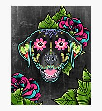 Labrador Retriever in Black- Day of the Dead Lab Sugar Skull Dog Photographic Print