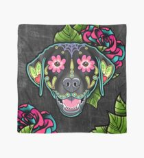 Labrador Retriever in Black- Day of the Dead Lab Sugar Skull Dog Scarf