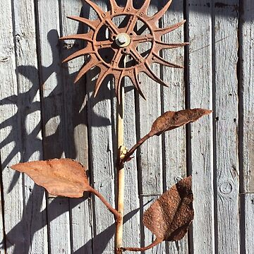 Metal flower sculpture in sun by Hickoryhill