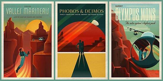 SpaceX Mars Kolonisation und Tourismus Verband Triptychon von bobbooo