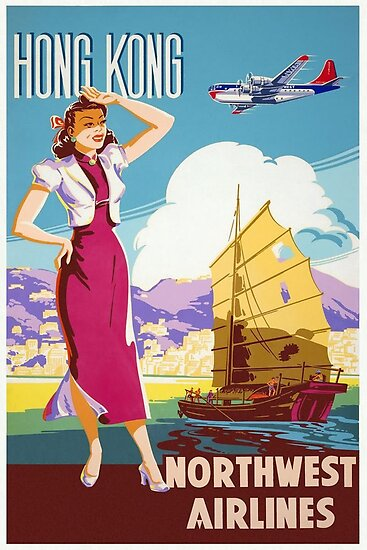 Hong Kong Northwest Airlines by vintagetravel