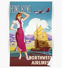 Hong Kong Northwest Airlines Poster