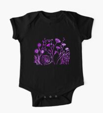 Pen and Ink Floral Doodle Art - Pink and Purple One Piece - Short Sleeve