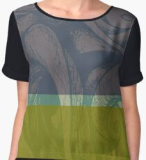 Swirl Abstract Landscape Green and Blue Chiffon Top