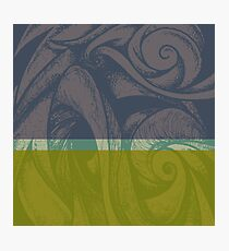 Swirl Abstract Landscape Green and Blue Photographic Print