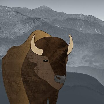 Bison Gray Mountains by janetcarlson
