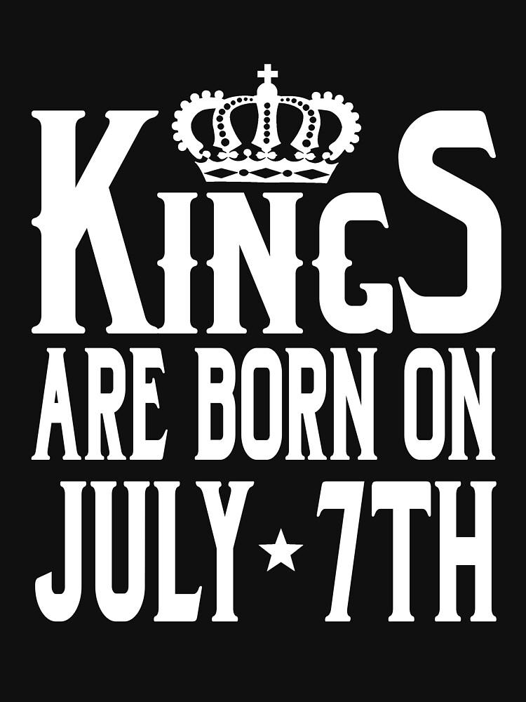 Kings Are Born On July 7th Funny Birthday T-Shirt by matt76c