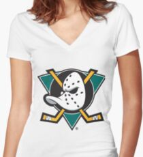 the mighty ducks 3 Women's Fitted V-Neck T-Shirt