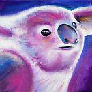 Purple hazed koala acrylic painting by Sarah Trett