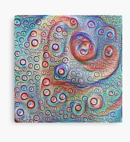 #DeepDream Water droplets on glass Metal Print