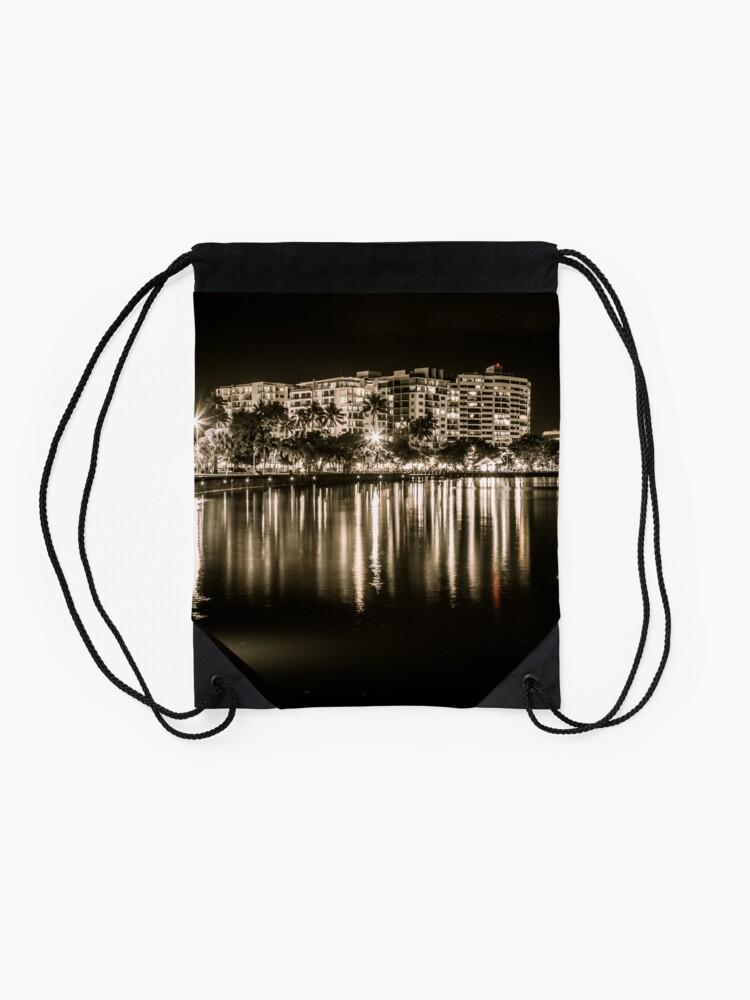 Alternate view of Cairns at Night Drawstring Bag