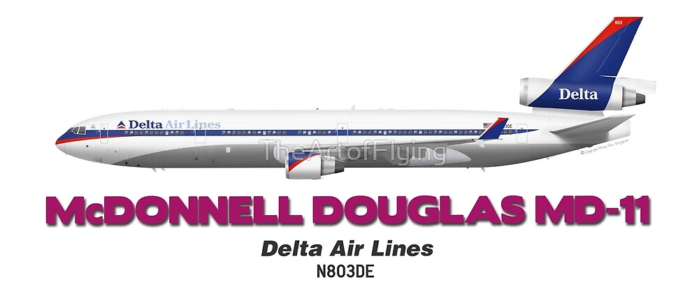 """McDonnell Douglas MD-11 - Delta Air Lines """"Old Colours"""" by TheArtofFlying"""