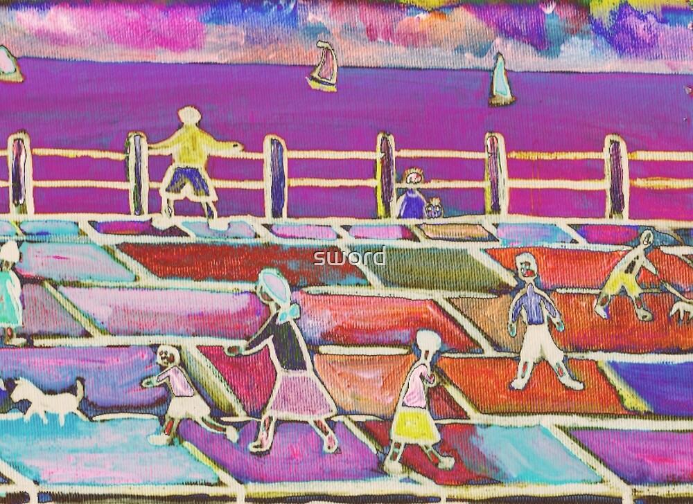 Children on a promenade by sword