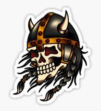Traditional American Viking Skull Sticker