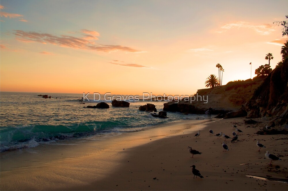 Laguna Beach at sunset by K D Graves Photography