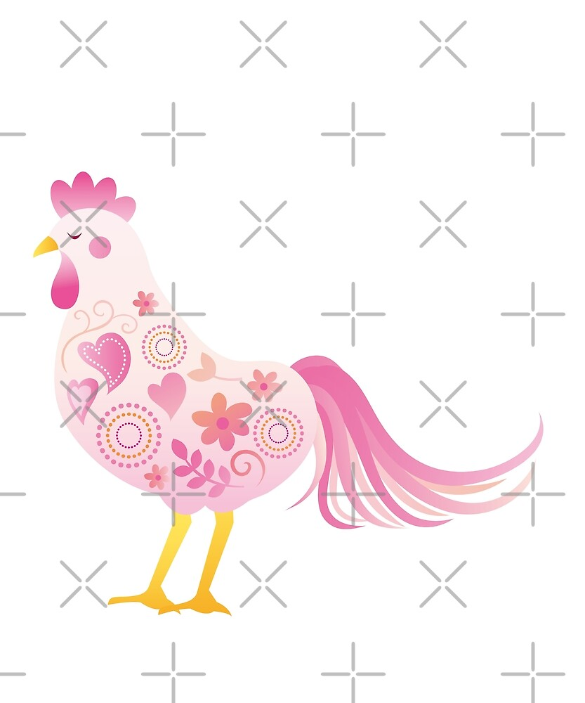Funny Super Sexy Chicken Lady Heart Flower Art Gift by JapaneseInkArt