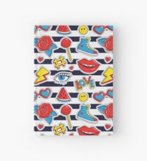 Striped print with colorful patches. Hardcover Journal