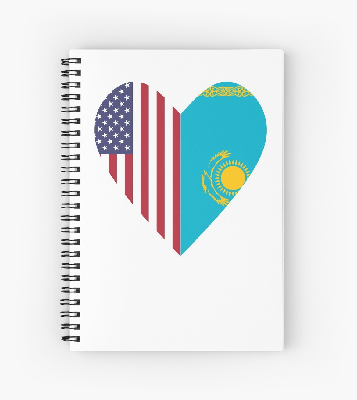 Half Kazakhstan Flag Half USA Flag Love Heart by TrevelyanPrints