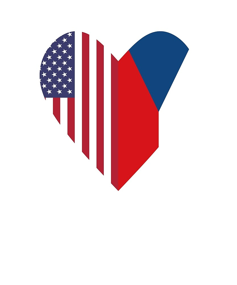 Half Czech Republic Flag Half USA Flag Love Heart by TrevelyanPrints