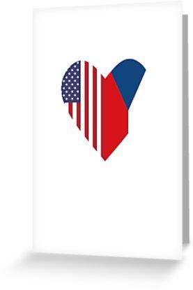 Half Czech Republic Flag Half USA Flag Love Heart by TrevelyanPrints
