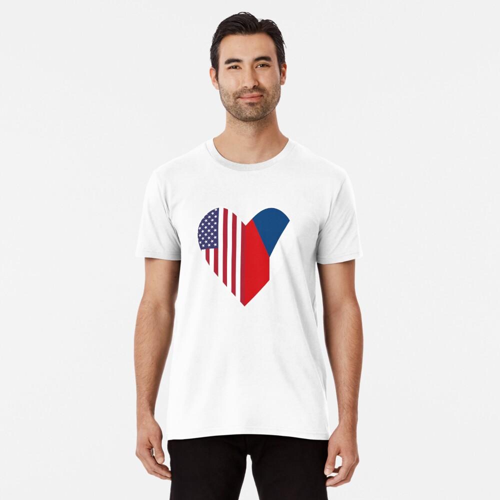 Half Czech Republic Flag Half USA Flag Love Heart Premium T-Shirt