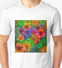 Tropical Vintage Exotic Jungle Flower Flowers - Floral watercolor pattern on #Redbubble Unisex T-Shirt