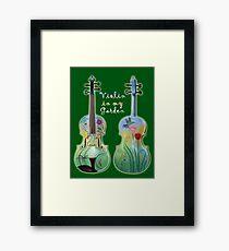Violin in My Garden Framed Print