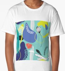 Hand drawn abstract floral seamless background pattern Modern cool design Long T-Shirt