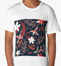 Hand drawn seamless background pattern with beautiful flowers on dark background Long T-Shirt