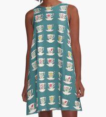 Grandma's Vintge Teacups Watercolour A-Line Dress