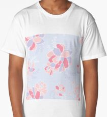 Seamless pattern Beautiful flowers in Soft pastel color palette Long T-Shirt