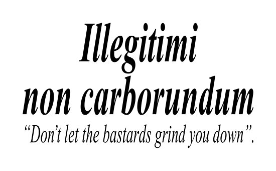 Fight Back Illegitimi Non Carborundum Is A Mock Latin Aphorism