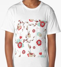 Romantic lovely flowers hand drawn seamless pattern  Long T-Shirt