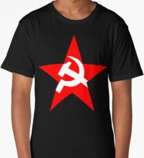 STAR, Red Star, Russia, Russian, Hammer and sickle, in five leg star. Communism, BLACK Long T-Shirt