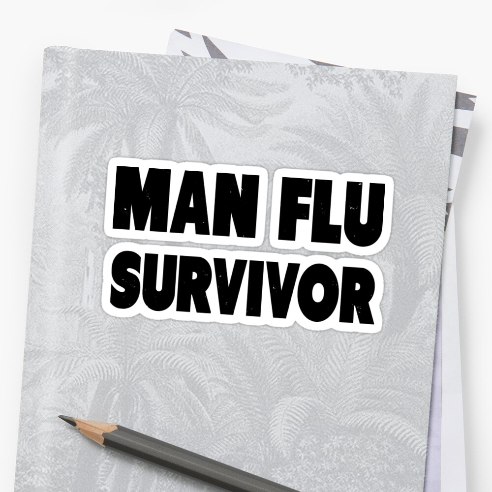 Man flu survivor stickers by alertxis redbubble for Home decor survivor 5