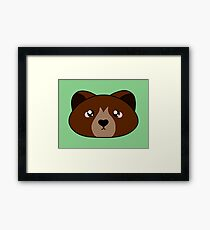 Cute little brown bear - Forest animal collection Framed Print