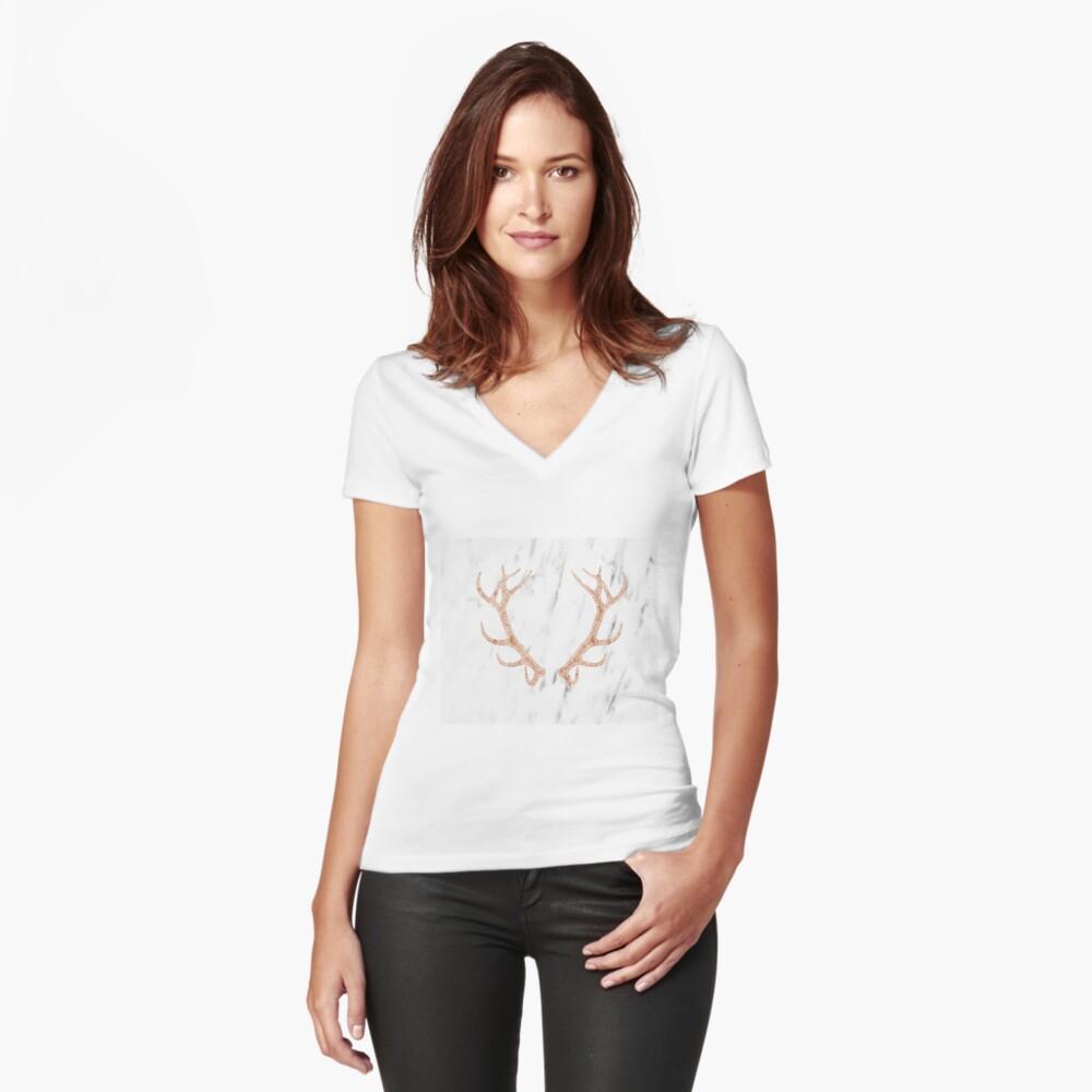 Astas de oro rosa en mármol blanco suave Camiseta entallada de cuello en V