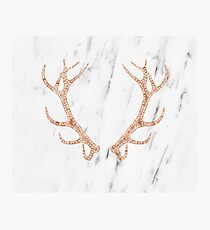 Rose gold antlers on soft white marble Photographic Print