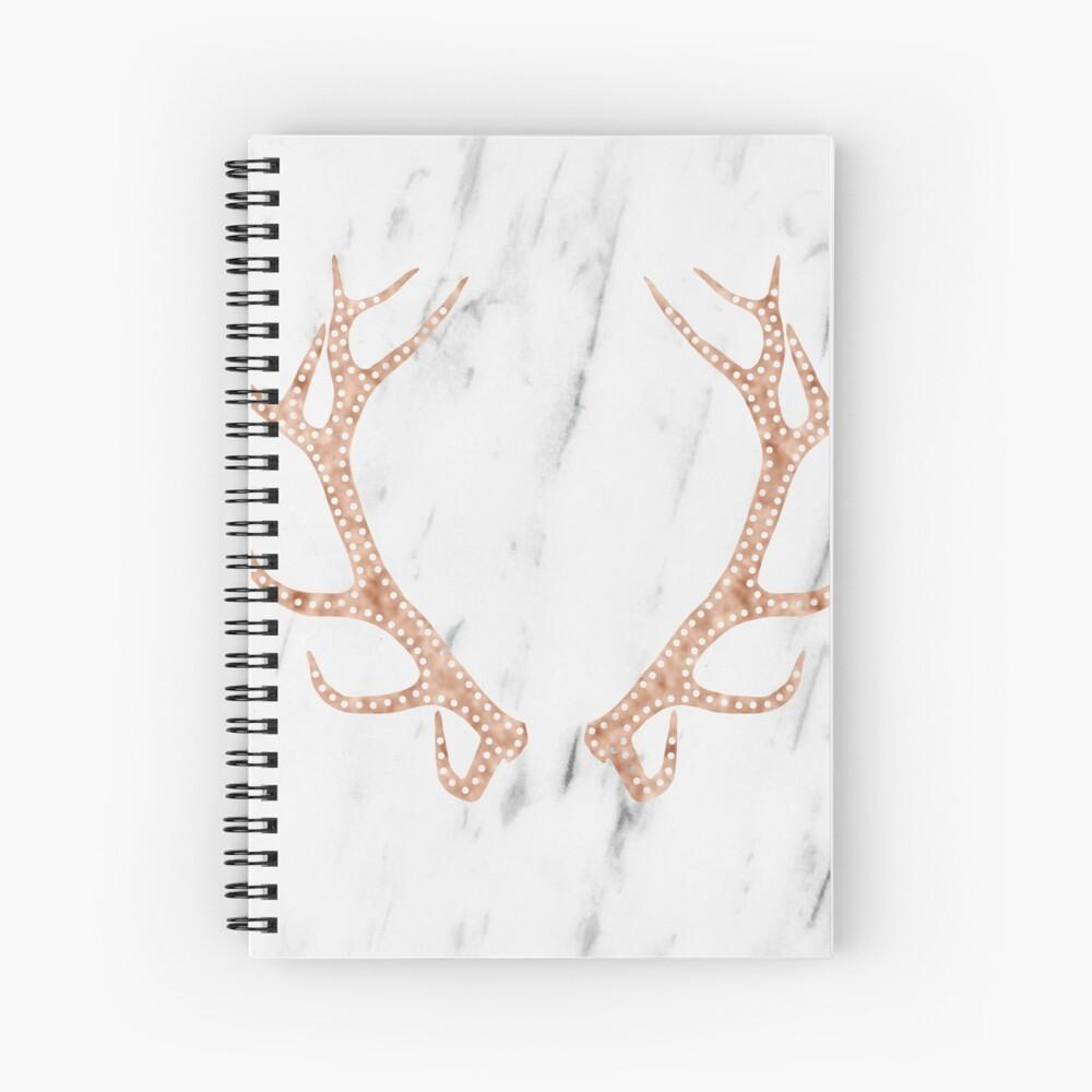 Astas de oro rosa en mármol blanco suave Cuaderno de espiral