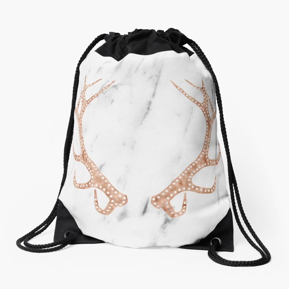 Astas de oro rosa en mármol blanco suave Mochila saco